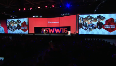 Gian Paolo on the main stage at SOLIDWORKS World 2016 in Dallas, Texas.