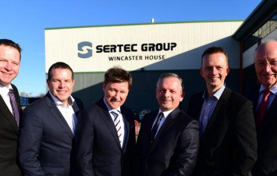 (L to R) Chris Pennick (Lloyds Bank); Dave Steggles; Grant Adams; Martyn Hughes (all Sertec); Ian Downing (BGF), and Mike Baunton (Sertec).