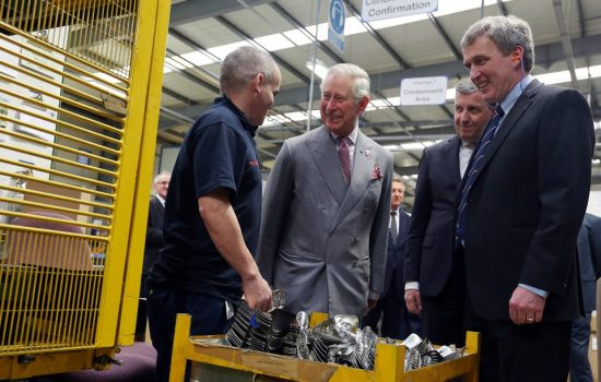 His Royal Highness, the Prince of Wales, meets with staff at ElringKlinger (GB), during his visit to Redcar