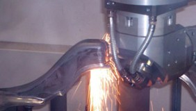 An image of laser cutting in action - image courtesy of GF Laser