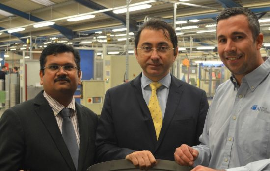 (L-R) R Praveen Kumar & Murat Aydemir (both Bin Jabr Group), and Lee Willson (A1 Flues).