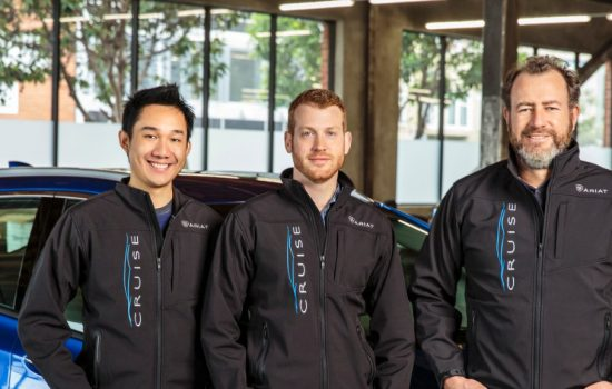 General Motors President Dan Ammann (right) with Cruise Automation co-founders Kyle Vogt (center) and Daniel Kan (left) - image courtesy of GM
