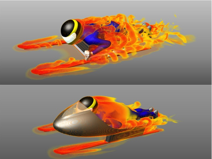 Computer simulation was an essential element of the design process for Guy Martin's record-breaking snow sledge. The analysis of airflow shows the difference the super-light composite shell, made by epm: technology group, made to aerodynamics and drag. Martin set a new downhill record on the sled, beating the previous mark by over 20kph.