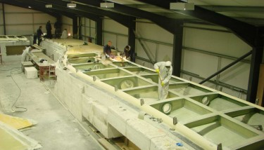 FRP decks for Pont y Ddraig under construction at AM Structures, Sandown, Isle of Wight