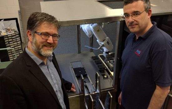 Tim Mead, MD of Innomech (L) with Mathew Sumpton, director of FCS Automation, in front of part of a manufacturing system that the two companies have been working on jointly for a UK-based client.
