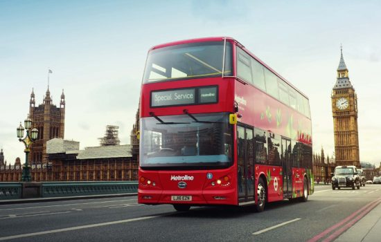 The all-electric version of the iconic double decker London red bus crosses Westminster bridge as a part of the vehicle's lauch event - image courtesy of BYD