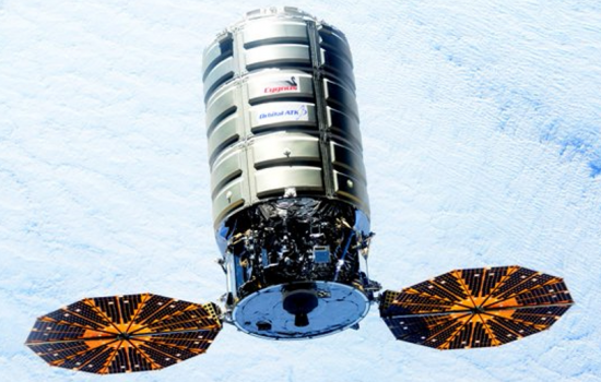 The Cygnus spacecraft, manufactured in part by Orbital ATK, encapsulated in its payload fairing - image courtesy of Nasa