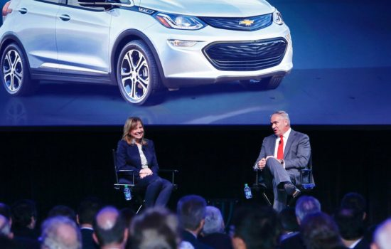 General Motors Chairman and CEO Mary Barra (left) talks with GM Vice President, global purchasing and supply chain Steve Kiefer at the 24th annual Supplier of the Year awards in Michigan