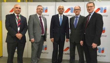 L to R: Kevin Westwood,  Jim Griffin (both Autins), Sajid Javid, Paul Walker (Autins) & Mark Pawsey MP.