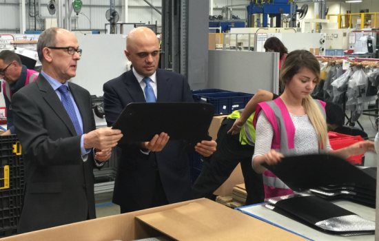 UK automotive - Paul Walker of Autins and Sajid Javid in the factory.