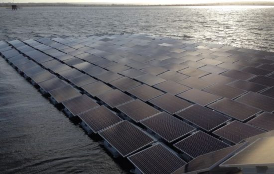 A rendering of the floating solar PV array. Image courtesy of Thames Water.