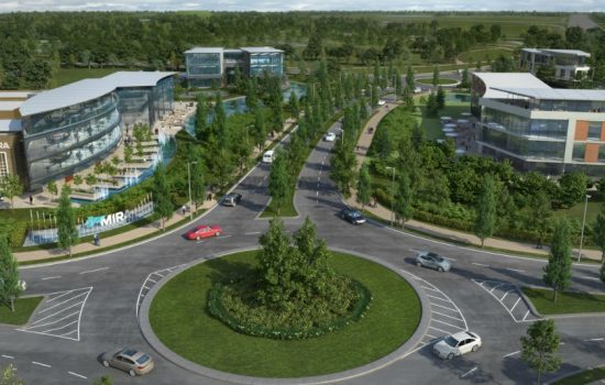 Artist's impression of the new HORIBA MIRA Advanced Emissions Test Centre - aerial view.