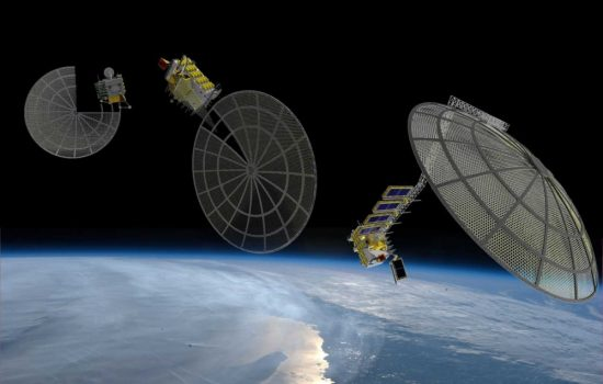 An artists impression of an Archinaut facility building a dish-structure in orbit. Image courtesy of Made In Space.
