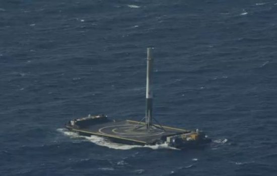 The SpaceX Falcon 9 first stage sucessfully landed on a barge in the Atlantic Ocean. Image courtesy of SpaceX.