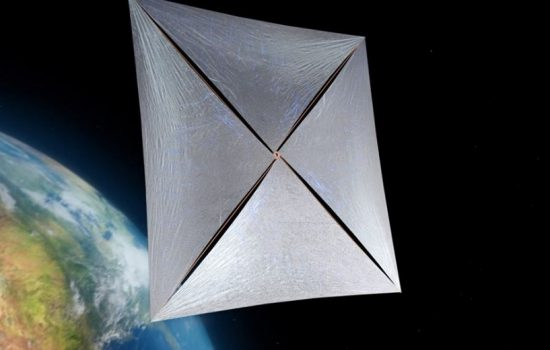 A rendering of a Breakthrough Starshot nanocraft. Image courtesy of Breakthrough Initiatives.
