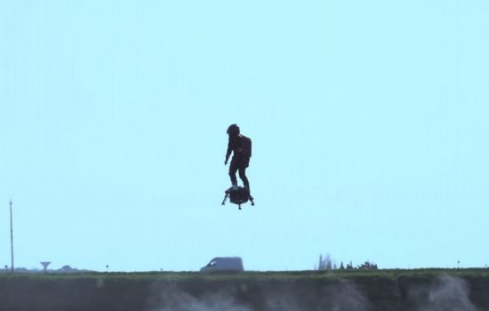 The Flyboard Air can fly for 10 minutes before needing to return to refuel. Image courtesy of Zapata Racing.