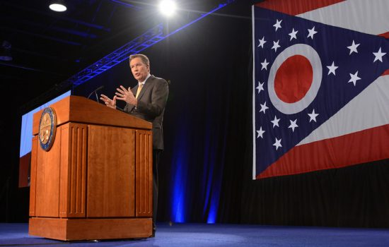 Gov. Kasich giving his State of the State speech to members of the Ohio General Assembly in Wilmington in 2015 - image courtesy of Ohio Governor's Office