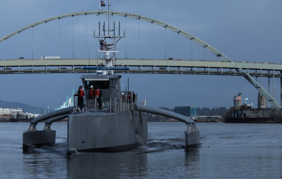 Defense Advanced Research Projects Agency (DARPA) and US Navy unveiled its new self-driving ship Sea Hunter during a christening ceremony for the vessel last week - image courtesy of DARPA
