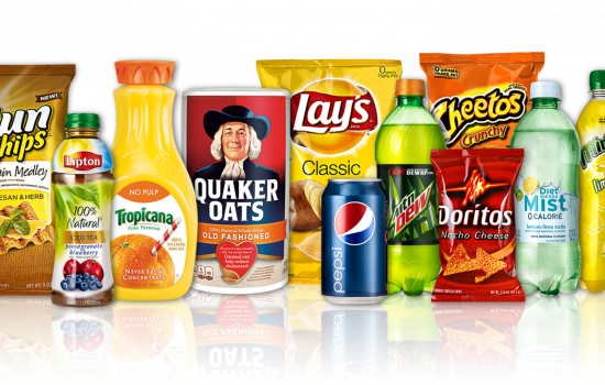 Arrangement of PepsiCo mega brands inlcuding 7UP, SunChips, Lipton, Tropicana, Quaker, Lay's, Pepsi, Mountain Dew, Doritos, Cheetos, Sierra Mist, Mirinda and Gatorade - image courtesy of PepsiCo