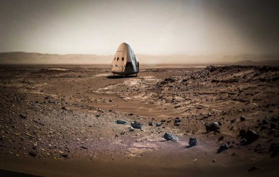 An artist's impression of the Red Dragon probe on the surface of Mars. Image courtesy of SpaceX.