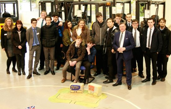 Sixteen sixth-form students from West Derby Academy with Steve Richmond, director of Systems & Projects at Jungheinrich UK.