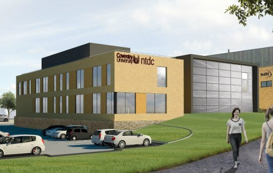 Exterior artist's impressions of Coventry University's new National Transport Design Centre (NTDC), based on the Technology Park.