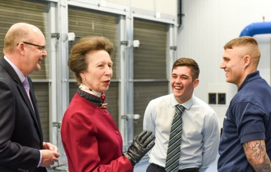 HRH Princess Anne tours the new Airedale International Air Conditioning Factory in Leeds.
