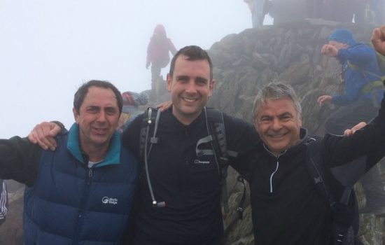 L to R: John Waddington and Chris Brown (President Engineering Group Ltd) atop Mount Snowdon with Darrell Fone (Exel). The three of them completed the 'National Three Peaks Challenge' in 23 hours and 20 minutes, raising more than £1,000 for Leukaemia and Lymphoma Research in 2015.