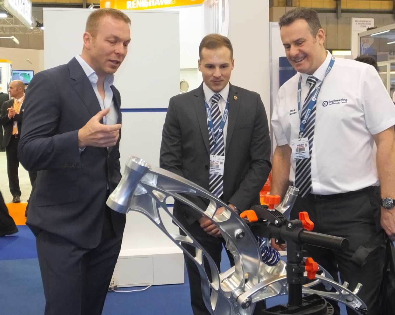 British Olympian Sir Chris Hoy - who officially opened MACH 2016 - dropped in to visit the ETG stand.