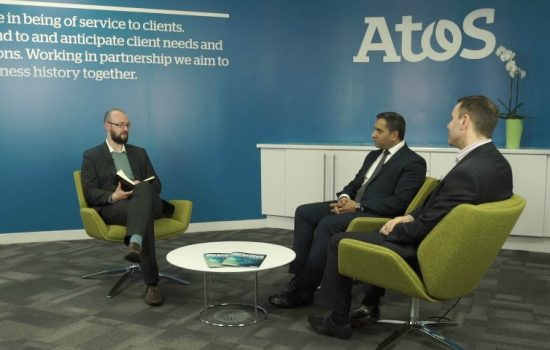 L to R: Jonny Williamson, web editor (The Manufacturer); Mukesh Parekh, vice president – manufacturing (Atos); and Brian Holliday, managing director - Digital Factory (Siemens) – image courtesy of Atos.