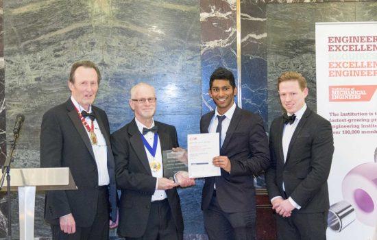 L to R: Dr Peter Ingham, chairman (IMechE Yorkshire Region); Professor Richard Folkson, president (IMechE); Rasan Chandra, SOFE Winner; John Elevation Recruitment, senior director (Elevation Recruitment).