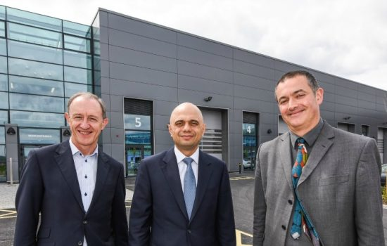 L to R: Rob Pearson, head (Area at the Homes and Communities Agency); Sajid Javid, The Secretary of State (BIS); and Toby Hyam (Creative Space Management) outside the new building at the Advanced Manufacturing Park, Rotherham - image courtesy of Simon Dewhurst.