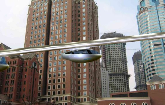 An artist's impression of a cityscape featuring a skyTran system - image courtesy of skyTran