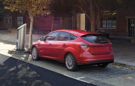 The 2016 Ford Focus Electric vehicle at a charging point - image courtesy of Ford