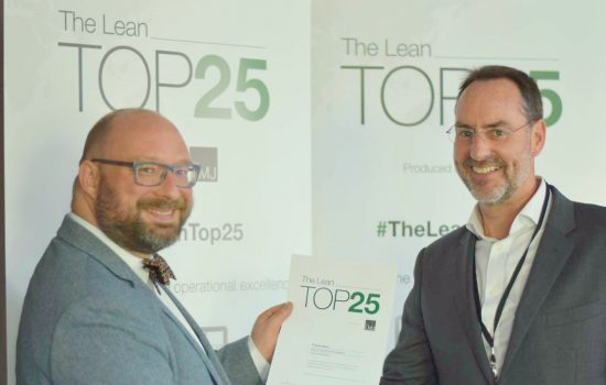 Steve Yorkstone handing certificates in recognition of inclusion in The Lean Top 25 report.