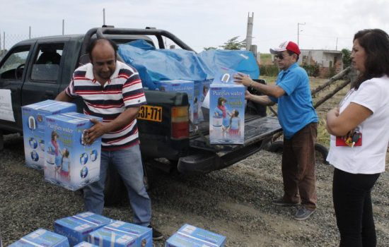Water purifiers bought with a donation from Diageo are delivered to Ecuador - image courtesy of PADF