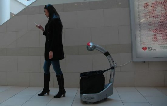 Wal-Mart's robotic shopping cart will likely resemble the Budgee robot (Pictured). Image courtesy of Five Elements Robotics .
