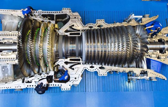 GE workers in Belfort, France, are assembling the record-breaking 9HA gas turbine for Bouchain which set the GE World Record - image courtesy of GE Power.