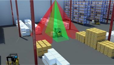 Ubisense AngleID sensor monitoring the presence of a forklift within multiple zones - image courtesy of Ubisense.
