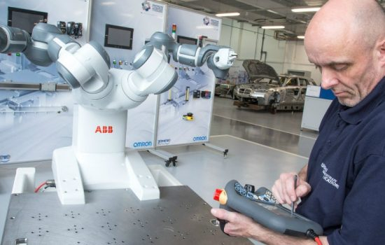 Unipart engineer, Steve Damms puts collaborative robot YuMi through its paces - images courtesy of AME.