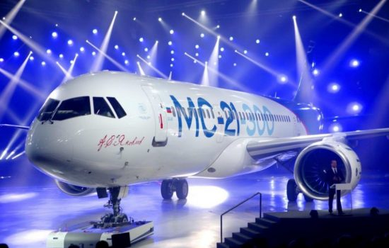 The MC-21 jet at its unveiling ceremony in Irkutsk, Russia. Image courtesy of Irkut.