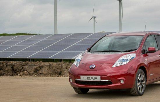 Solar Farm Nissan Leaf