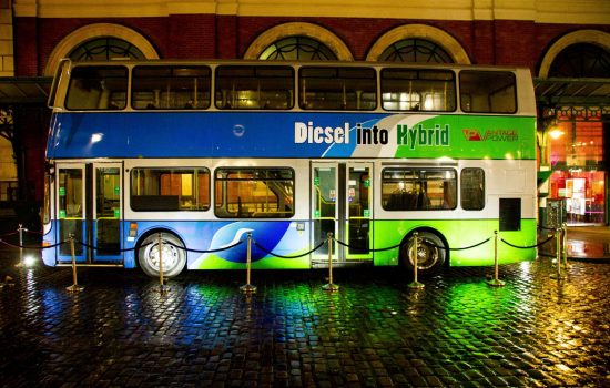 The amount of fuel double-decker buses use makes the the most amount of fuel, it makes the economics of a hybrid retrofit more appealing than smaller buses - image courtesy of Vantage Power.