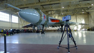 Metrology engineers Richard James and Tom Hodgson scanning the Vulcan - image courtesy of AMRC.