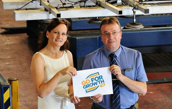 Helena Bassett (Coventry and Warwickshire Chamber of Commerce) and Tom Mongan (Subcon Laser Cutting).
