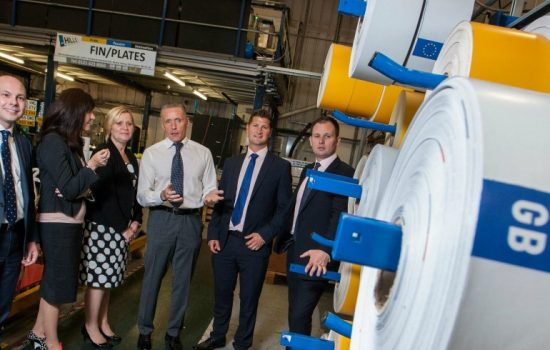 Hills Numberplate Investment L to R: Stephen Murray (Finance Birmingham); Julie Mole (NatWest); Kath Jenkins & Richard Taffinder (both Hills Numberplates); Ian Fairclough (Finance Birmingham) and Ken Feast (RBS Invoice Finance).