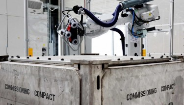 '3m3 box robot' – the new robot photogrammetry cell at the Nuclear AMRC, used to inspect waste containers and other large assemblies.