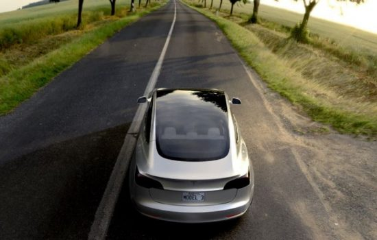 A Tesla Model 3 electic vehicle, designed for the mass market. Image courtesy of Tesla