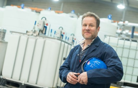 Nanoparticles - Professor Ed Lester at the Promethean Particles nanomaterials plant - image courtesy of University of Nottingham.