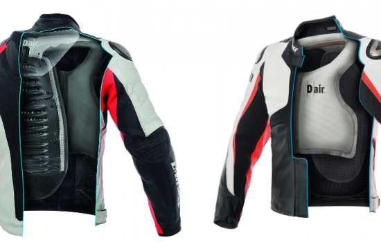 The Dainese Misano 1000 motorcycle airbag jacket features inbuilt independent sensors - image courtesy of Dainese.